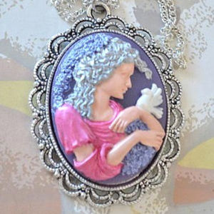 Jewelry - Hand Painted Cameo Necklace  - Art Nouveau Style
